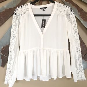 NEW Express Lace Sleeve Blouse